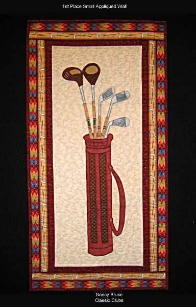 2009 First Place Small Appliqued Wall: Classic Clubs by Nancy Bruce