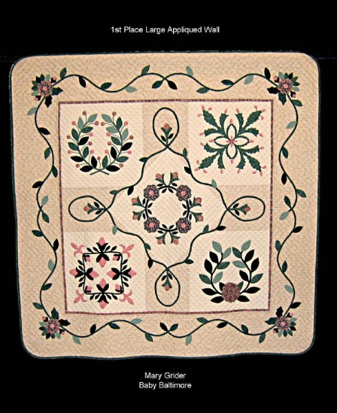 2009 Viewer\'s Choice:  Baby Baltimore by Mary Grider; Large Appliqued Wall Quilt