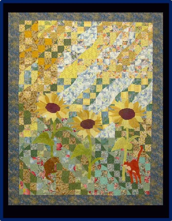 2013 Best Machine Quilting: Two Cats in A Yard by Amanda Whitsel