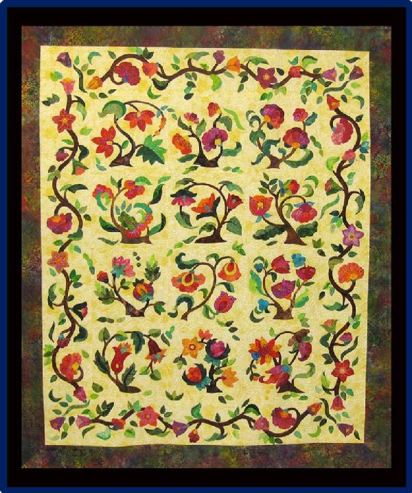 2013 Viewer's Choice Best Hand Quilting Best Applique Wall Quilt - Applique: Jacobean Terraria by Cleo Ward