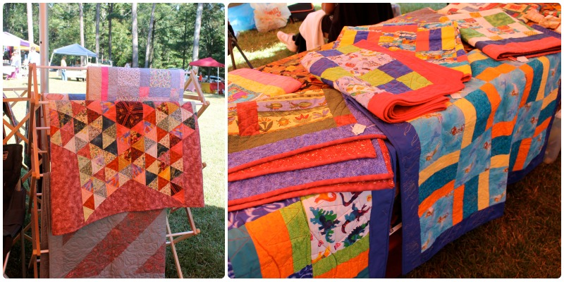 A collection of quilts made by guild members
